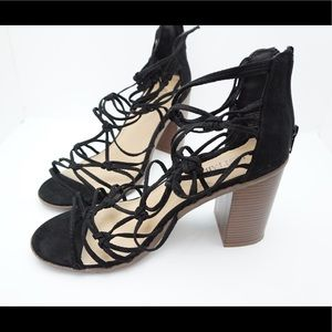 Just fab black strapped heels size 9.5